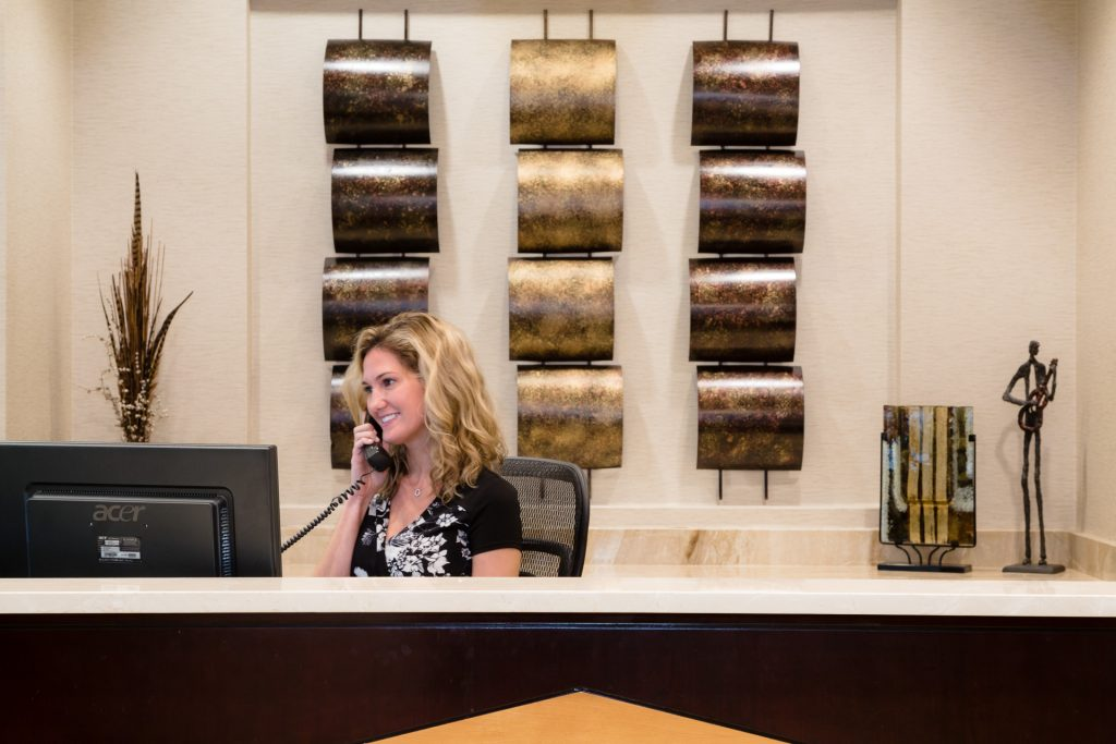 Front Desk in the Lobby at NorthPoint Executive Suites in Alpharetta